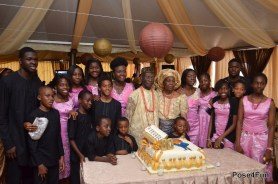 Dr. Gamaliel Onosode and his wife and grandchildren in a group photo during the elder statesman's 80th birthday celebration on May 22, 2013 | Sunday Ohwo