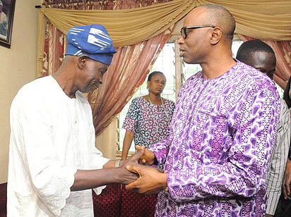 Chief Olu Falae with Governor Segun Mimiko of Ondo State after he was released on Thursday, September 24, 2015 | Vanguard