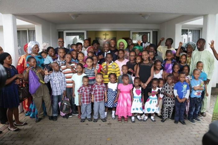Professor Yemi Osinbanjo and wife, Dolapo visit the Children's Church in Aso Rock Chapel in the Presidential Villa and takes a group photo with the kids his first Sunday as Vice President on May 31, 2015 (Photo Credit: Sesco)