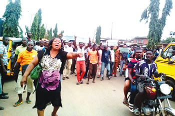 Tricycle drivers protest after a team of officials attached to the Isheri Osun Police Division had on Wednesday, September 16, 2015 shot at a couple and killed the wife in the process | Punch
