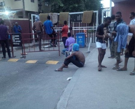 UNILAG students protesting invasion of bed bugs and mosquitoes in their hostels on Monday, September 28, 2015 | Vanguard