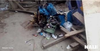 "Photos from the scene of the ""fridge explosion"" in Lagos according to NEMA"