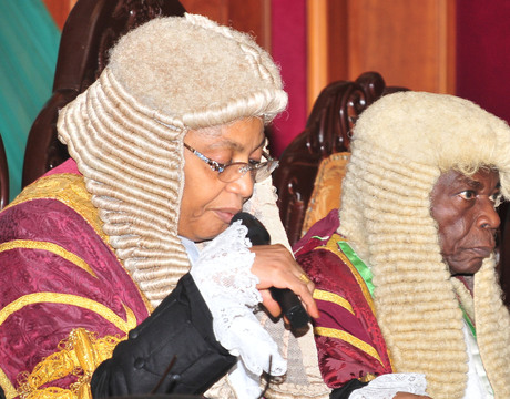 File: President, Court of Appeal, Justice Zainab Bulkachuwa (l) with the former President (r) Justice Ayo Salami at the Valedictory Court Session of the Court in honour of Justice Salami in Abuja on Thursday, October 31, 2013  | 2013