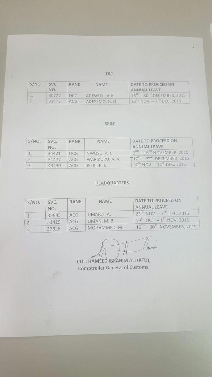 The leave schedule