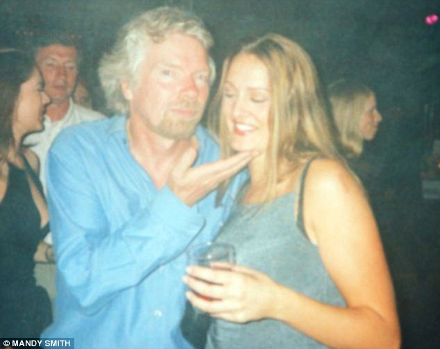 Pictured with founder of Virgin, Richard Branson, Mrs Smith once helped a pilot who suffered a heart-attack