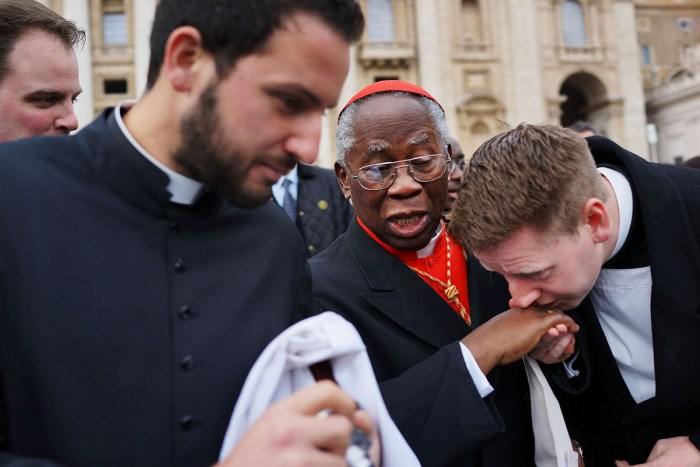 Cardinal Francis Arinze, 80, of Nigeria exits St Peter's Basilica after he attended the Pro Eligendo Romano Pontifice Mass before he and the other Cardinals will enter the conclave to decide who the next pope will be on March 12, 2013 in Vatican City, Vatican. | Spencer Platt/Getty Images