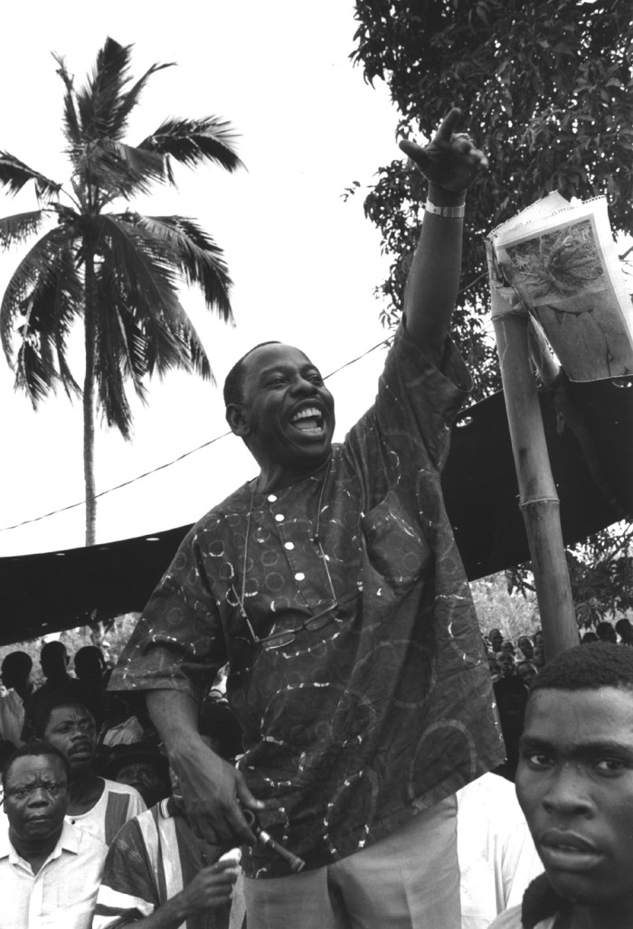 Ken Saro-Wiwa, local leader, speaking at Ogoni Day demonstration, Nigeria. The demonstration was officially called to mark the start of UNICEF's International Year of Indigenous People, but unofficially it was against the Shell oil company. Shell operates many oilfields in the Bori region and there have been many blowouts and leaks.