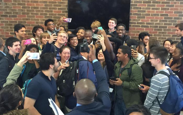 Former President Goodluck Jonathan visited The Presidential Precinct in Virginia, USA on November 9, 2015. Students in a mad rush to get a selfie with Dr. Jonathan| Flickr/The Presidential Precinct