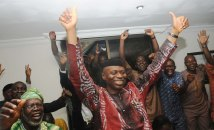 Governor Olusegun Mimiko of Ondo State jubiliating at the Government House in Akure on Sunday, October 21, 2012 after he was declared winner of the guber elections on Sunday. | NAN Photo