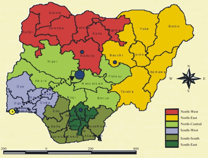 Restructuring Nigeria: The map showing the 6 geopolitical regions of the country.
