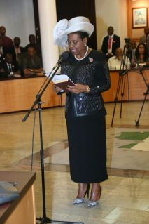 Justice Daisy Okocha taking her oath of office. | Facebook