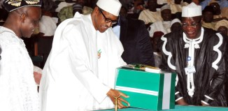 Ita Enang presents 2016 budget to senate with Muhammadu Buhari