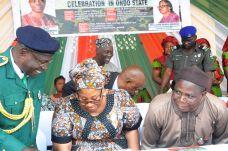 From right; Ondo State Deputy Governor, Alhaji Lasisi Oluboyo, Commissioner for Women Affairs & Social Development, Mrs. Olasinmi Akindele-Odunmbaku and Ondo State Chairman Nigerian Legion, Major Vincent Abiola (rtd).
