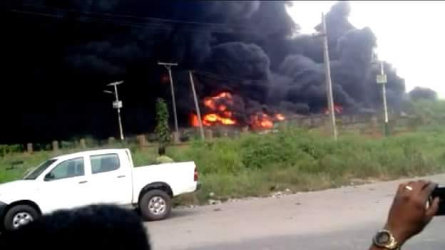 Picture of a burning oil pipeline in Delta