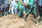 Governor Olusegun Mimiko and his wife, Kemi (right) leading the way in the back-yard farming in Akure, in Ondo State February 2016