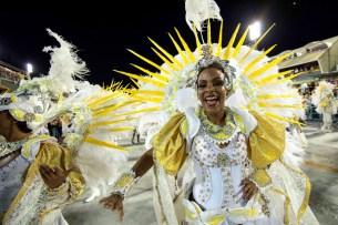 Revelers of Estacio de Sa samba school perform during the first night of the carnival parade at the Sambadrome in Rio de Janeiro, on february 07, 2016, Brazil. AFP PHOTO / CHRISTOPHE SIMONCHRISTOPHE SIMON/AFP/Getty Images