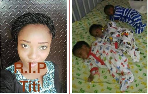 Mrs Titilayo Balogun reportedly died shortly after she gave birth to a set of triplets after three years wait in Lagos State   Ayodele Ilori/ Facebook