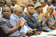 Governor Segun Mimiko (3nd right), NFF President Amaju Pinnick (2nd left), Ondo Commissioner for Youth and Sports (2nd right) at the official launch of the Ondo State Football Academy at The Dome in Akure on Monday, March 7, 2016 | Ondo TV