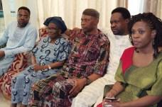 Ondo State's Governor Olusegun Mimiko (middle) during a condolence visit Late Braithewaite family on Wednesday, April 6, 2016 | Ondo TV