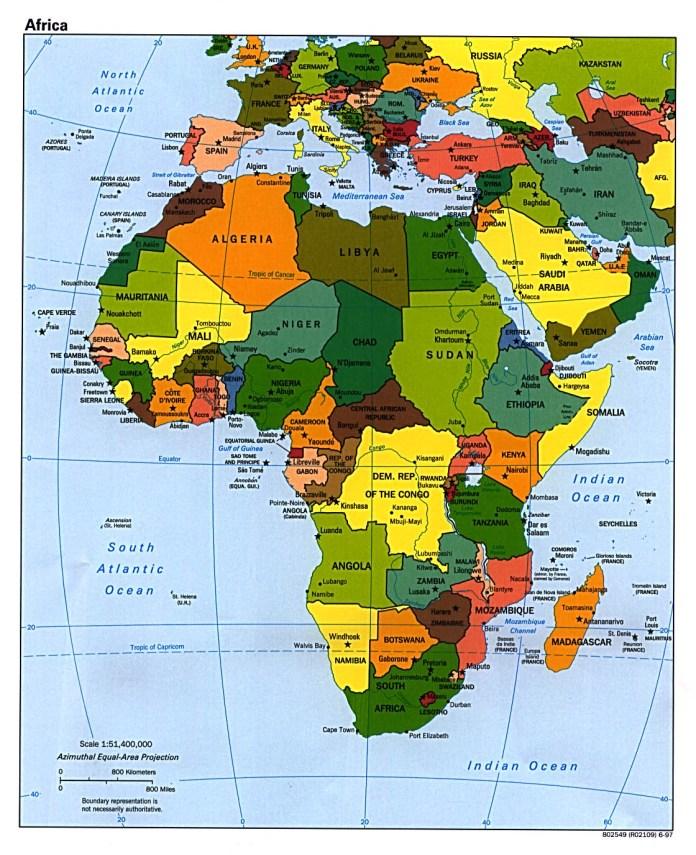 Africa, Asia