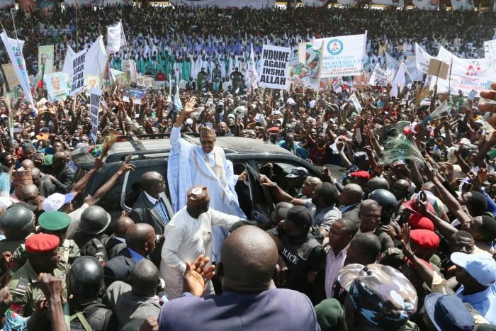 General Muhammadu Buhari at an All Progressives Congress campaign rally in 2015.