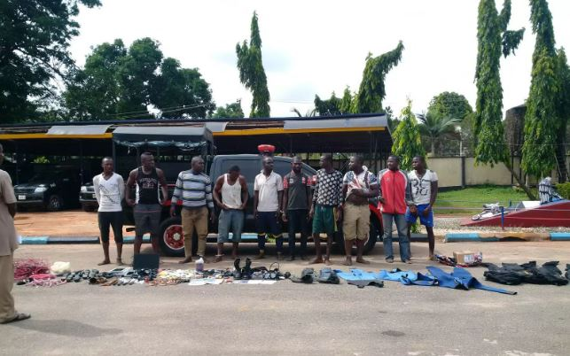 The 10 Suspects paraded as Niger Delta Avengers by the Nigerian Army | Army Photo