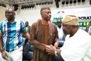 From right; PDP Governorship candidate in Osun State, Senator Iyiola Omisore, Ondo State Governor, Dr Olusegun Mimiko and his Ekiti state counterpart, Ayodele Fayose | Ondo TV