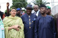 Governor Nyesom Wike (middle) with Vice President Yemi Osinbajo (r) and minister of environment, Ms. Amina Mohammed in Bodo for the flag off of the Ogoniland clean up on June 2, 2016 | Rivers Gov't Photo