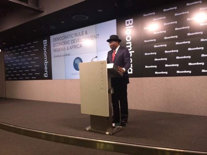 Dr. Goodluck Jonathan at the Bloomberg Studio in London on Monday, June 6, 2016