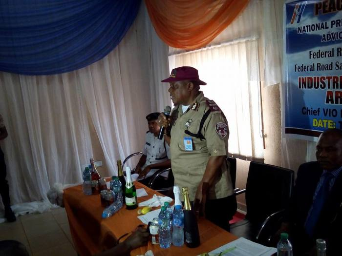 An official of the Federal Road Safety Corps at the launch of the 'Defensive Driving campaign by Peace Mass Transit on Thursday, July 7, 2016 in Enugu| Emeka Odionu/Facebook