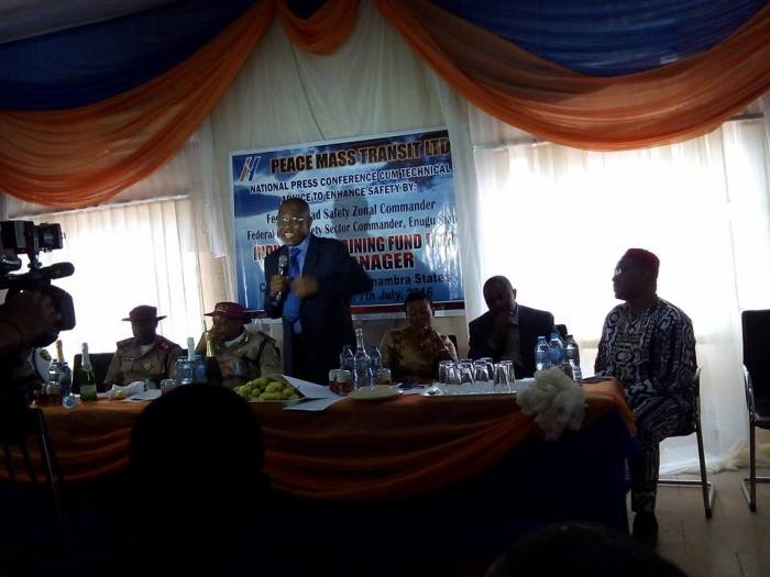 Dr. Sam Onyishi, Chairman and Chief Executive of Peace Mass Transit speaking at the launch of the 'Defensive Driving campaign by the company on Thursday, July 7, 2016 in Enugu | Emeka Odionu/Facebook