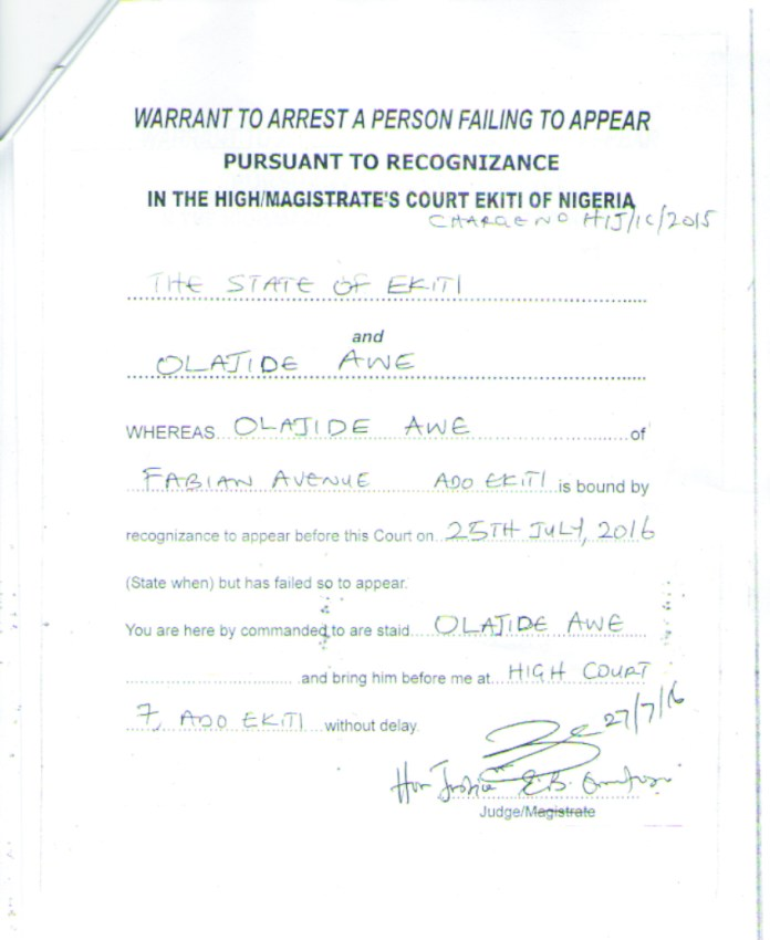 Jide Awe warrant