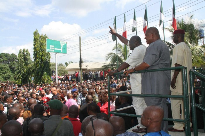 Dr. Okezie Ikpeazu, governor of Abia State at a solidarity rally at the Government House in Umuahia, Abia State on Friday, July 1, 2016 | Obed Nnaji