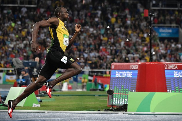 Jamaica's Usain Bolt competes in the men's 200m Final during the athletics event at the Rio 2016 Olympic Games at the Olympic Stadium in Rio de Janeiro on August 18, 2016.   | Jeff Pachoud/AFP/Getty Images
