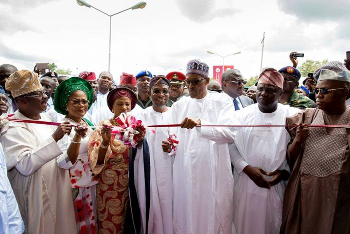 President Buhari with R-L Borno State Governor H.E. Kashim Shettima, Lagos State Governor H.E. Akinwunmi Ambode, Osun State Governor H.E. Rauf Aregbesola, First Lady of Osun State Mrs Sherifat Aregbesola, Deputy Governor of Osun State Chief Mrs Laoye Tomori and Oyo state Governor Abiola Ajimobi at the commissioning of Osogbo Government High School Osun in celebration of Osun at 25 years anniversary on 1st Sept 2016 | Femi Adesina/Facebook