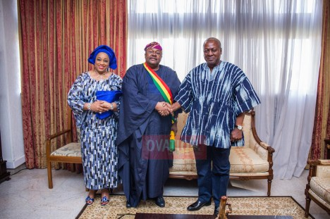 Dr. Mike Adenuga Jr pays a courtesy visit to the home of President John Dramani Mahama and his wife Lady Lordina on Sunday afternoon in Accra... Amb. Phanice Mogaka was with them. | Ovation