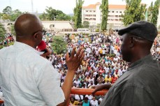 Ondo state Governor, Dr Olusegun Mimiko (left) and the National President of the Nigerian Union of Local Government Employees (NULGE), Comrade Ibrahim Khaleel, addressing local government workers in the state, during a 'Thank You' rally organized by the Nigerian Union of Local Government Employees (NULGE) to appreciate the Governor, in Akure, on Wednesday.