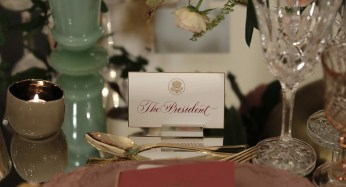 President Barack Obama's place card is seen on a table at the State Dinner on Tuesday Oct. 18.   AP Photo