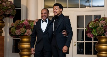 Chance the Rapper and Kenneth Bennett arrive for the State Dinner.   Getty