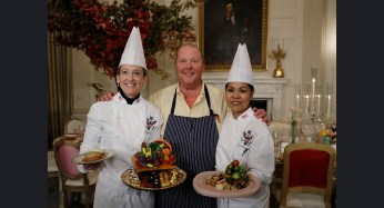 From left, White House Executive Pastry Chef Susan Morrison, American chef Mario Batali, and White House Executive Chef Cris Comerford pose for photographers during a preview of the State Dinner.   AP Photo