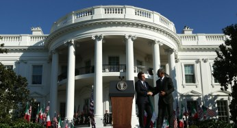 President Barack Obama and Italian Prime Minister Matteo Renzi appear on the White House South Lawn.   Getty