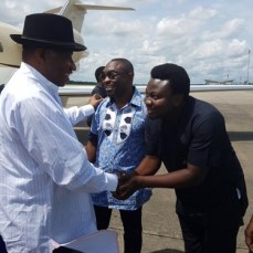 Former President Goodluck Jonathan received by well-wishers as he arrives Port Harcourt International Airport on Sunday, October 2, 2016 | The Trent