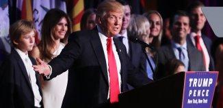 Republican president-elect Donald Trump delivers his acceptance speech. | Spencer Platt/Getty Images