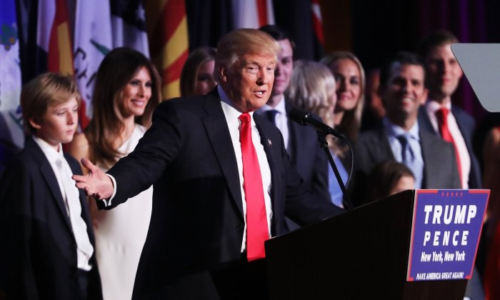 Republican president-elect Donald Trump delivers his acceptance speech. | Spencer Platt/Getty Images