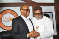 Chief Rotimi Akeredolu (r) the Ondo governor elect meets with Ondo Governor Olusegun Mimiko at the Government House in Akure on Wed, December 14, 2016