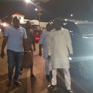 Apostle Suleman and Governor Ayodele Fayose leaving Midas Touch Hotel, Ado Ekiti on Wednesday, Jan 25, 2017