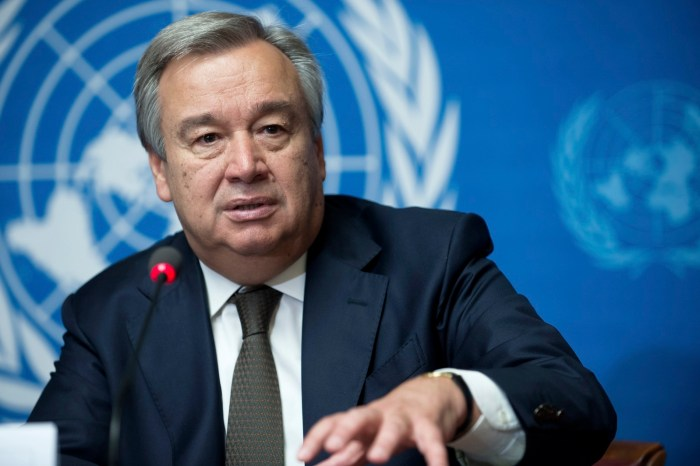 Peace Antonio Guterres, pictured in Geneva, Switzerland