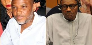 Biafra Nnamdi Kanu, leader of IPOB (left), President Muhammadu Buhari IPOB Pro Biafra secessionist group