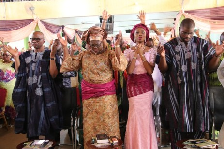 From left; Former Governor of Ondo State, Dr Olusegun Mimiko, his Wife, Olukemi and his children, Bibitayo and Bayonle.