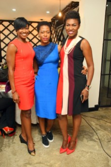 Kate Henshaw, Ezinne Chikata, Ufuoma Ejenobor McDermott at the IWS Power Breakfast at Sugarcane in Victoria Island on March 8, 2017 | Photo Courtesy of Plug Media